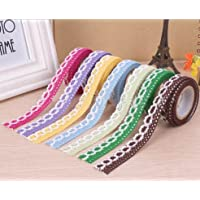 DIY Self Adhesive Lace Washi Tape Trim Ribbon Cotton Fabric Tape Decor Craft Mixed Color (5 Pack)