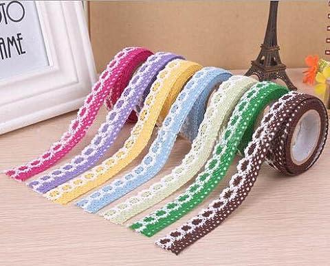 DIY Self Adhesive Lace Washi Tape Trim Ribbon Cotton Fabric Tape Decor Craft Mixed (5 Pack)