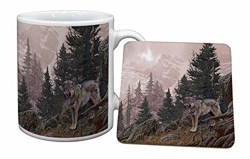 Advanta - Mug Coaster Set Berg Wolf Becher und Untersetzer Tier Geschenk Wolf Coaster Set