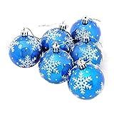 Veyikdg Weihnachtsbaum-Dekoration, 6 Stück, 6 cm, Weihnachtskugeln für Partys, Weihnachtsbaum, Dekoration zum Aufhängen blau
