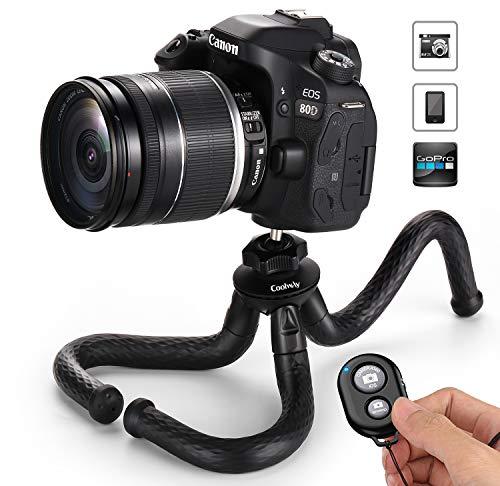 Coolway Flexibles Reise Stativ mit Bluetooth Fernbedienung, Leichtes Stative für Smartphone DSLR Kamera Gopro, Schwarz