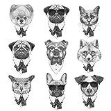 XXPF Pegatina Falso Temporal Gris Perro Gato Fox Animales Vintage Herramienta