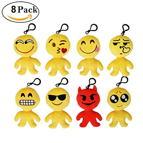Cusfull Lot de 8pcs Mini Emoji Porte-clés en Peluche Mignon Émoticône Emoji pour Journée des enfants Cadeau d'Enfants Décorations Cadeau de Fête Noël ...