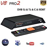 GT Media V8 PRO2 S2 / T2 / Cable / ISDBT Cavo Ricevitore TV Satellitare Digitale Terrestre Decoder, 1080P Full HD H.265 HEVC AVS+ WiFi Integrato, Compatibile con PowerVu, IPTV, Youtube, Cccam