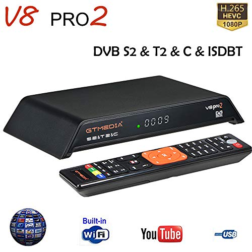 GT Media V8 PRO2 S2/T2/Cable/ISDBT Receptor de TV Satelital Digital Decodificador Terrestre, 1080P Full HD H.265 HEVC AVS+ WiFi, Compatible con PowerVu, IPTV, Youtube, Cccam