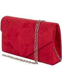 2bb5ccd839 Emila Pochette donna elegante da cerimonia scamosciata Borsa a mano piccola  Clutch gialla rosa rossa Borsetta