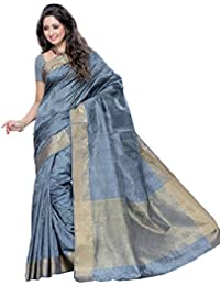 MIMOSA Women's Silk Saree with Blouse Piece, Free Size (2037-Grey)
