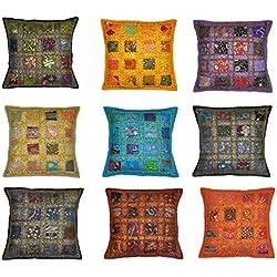 5billion Lot de 10 Housses de Coussin recyclées Sari Indien marocain 40 cm