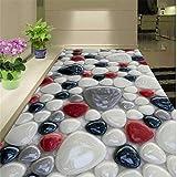 Fushoulu Benutzerdefinierte Selbstklebende Boden Mural Tapete 3DBunte Stein Bodenfliesen Aufkleber Badezimmer Wohnzimmer Pvc-Tapete 3 D-150X120Cm