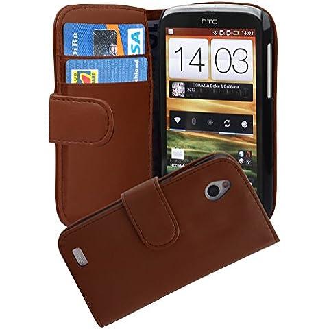 Cadorabo - Funda HTC DESIRE X Book Style de Cuero Sintético Liso en Diseño Libro - Etui Case Cover Carcasa Caja Protección con Tarjetero en