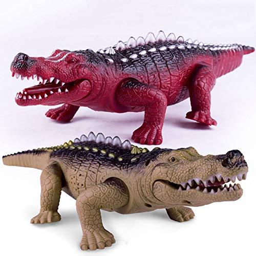 xMxDESiZ Realista cocodrilo eléctrico Crawling Animal Modelo Luminiscente Sonido Niños Juguete