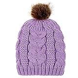 Beanie Wintermütze DOLDOA Damen Strickmütze Wärmer Ski Hüte mit Bommel Pompon