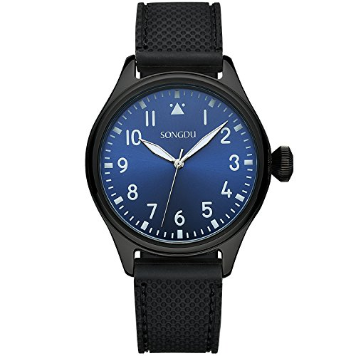 songdu-mens-9206-mint-collection-simple-designed-black-tone-watch-with-silicone-strap-and-blue-dial