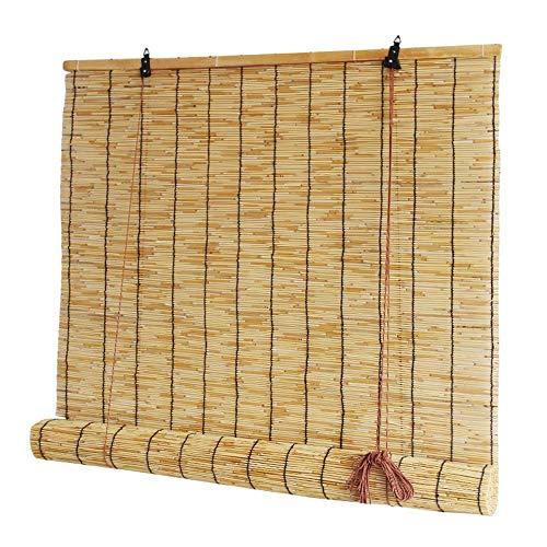 Persiana Enrollable de bambú Cortina de caña Natural Protección contra la luz decoración Transpirable, En Interiores y Exteriores Ventana Persianas Múltiples tamaños