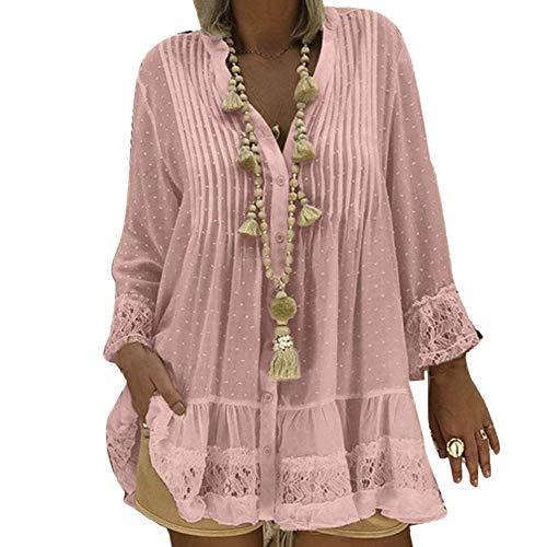 mAjglgE Frauen Damen Plus Size Casual Neun Punkte Ärmel V-Ausschnitt Plissee Rüschenbluse Lose Top Kleidung Rosa L