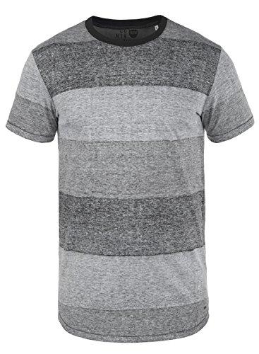 !Solid Teine Herren T-Shirt Kurzarm Shirt mit Streifen und Rundhalsausschnitt, Größe:L, Farbe:Black (9000) - Button-down Polo Shirt Gestreift