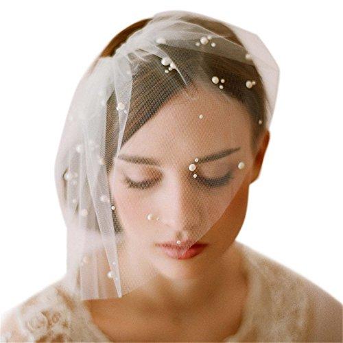 remeehi Pearl Hair Hoop Kopfband Käfig Braut Schleier Hochzeit Zubehör Lace Kurz Schleier Braut