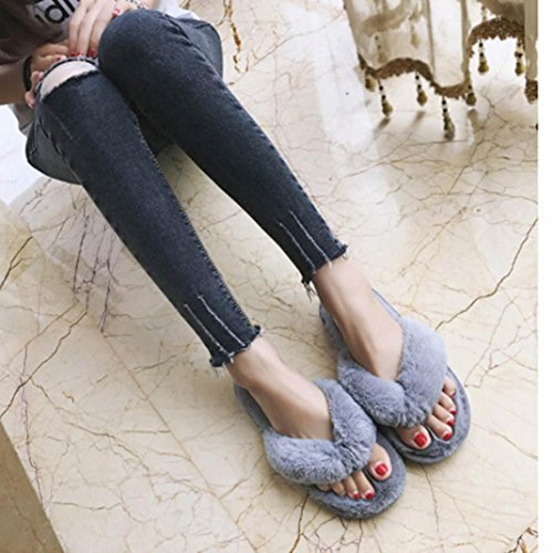 Rawdah Tongs Chaussures Femme 2017 Fille Plush House Spa Flip Flops Chaussons Gris