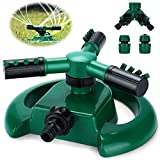 Aiglam Garden Sprinkler, 3 Nozzles Lawn Sprinklers,360°Automatic Rotating Water Sprinkler System Adjustable Outdoor