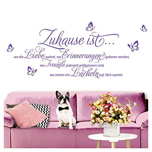 Grandora W3058 Wandtattoo Spruch Zuhause ist I lavendel (BxH) 120 x 52 cm I Flur Wohnzimmer Aufkleber selbstklebend Wandsticker Wandaufkleber (Lavendel Große Aufkleber)