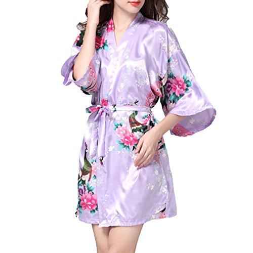 Juleya Faxu Seide Satin Robe Floral Bademantel Kurze Kimono Robe Nacht Robe Bademantel Fashion Dressing Gown für Frauen Licht Lila XL (Lila König Robe)