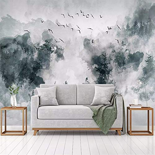 Papier Peint 3D Oiseaux De Forêt Dessinés À La Main Simple Moderne Papier Peint Intissé Décoration Murale