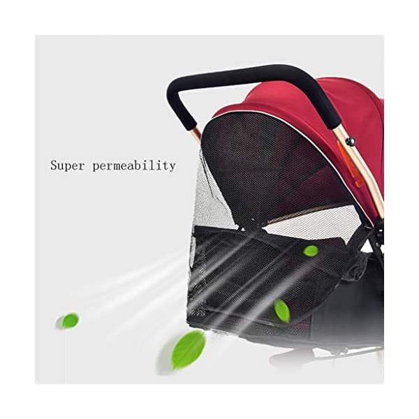 Luxury Baby Stroller Light High-Landscape Pram Portable Folding Umbrella Baby Carriage Baby Stroller on The Airplane (Color : Red) AILI-pushchairs Ten wheel front wheel four-wheel suspension, built-in bearing steering flexible four-wheel shock absorber to reduce bumps. It can be used to sit and recline freely to adjust the seasons. The measured width is wide and comfortable, creating a comfortable sleeping environment for the baby. 4