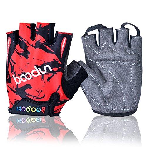 en Fahrrad Handschuhe Halb Finger Fahrrad Sport Trainingshandschuhe (Rot, M) (Mädchen Rot Handschuhe)