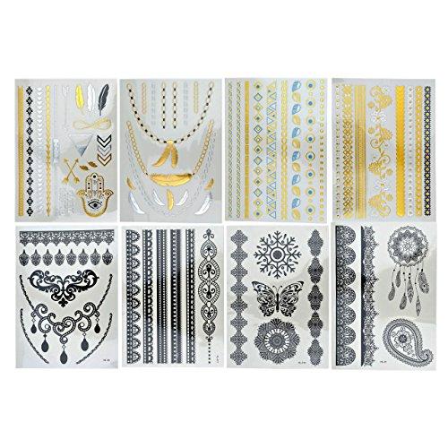 piercingj-4-6-8-planches-de-tatouages-ephemeres-tattoos-etanche-dentelle-noire-blanche-metalliques-b