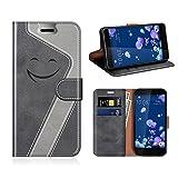 MOBESV Smiley HTC U11 Hülle Leder, HTC U11 Tasche Lederhülle/Wallet Case/Ledertasche Handyhülle/Schutzhülle für HTC U11, Schwarz/Grau
