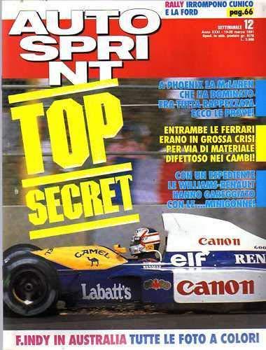 Autosprint Auto sprint 12 del Marzo 1991 Senna Phoenix Durand Renault Alpine