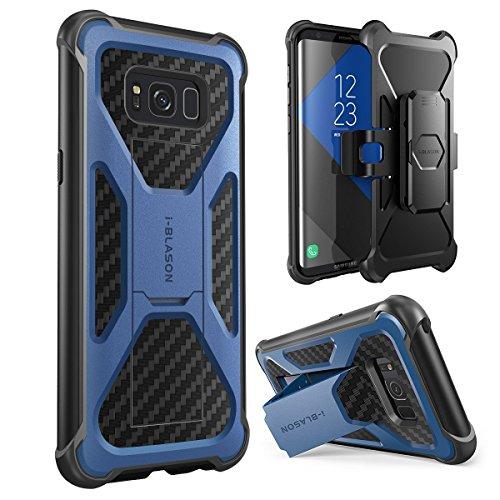 i-Blason Samsung Galaxy S8 Hülle Prime Serie - 2-Schicht Schutzhülle/Tasche/Gehäuse/Zubehör mit Standhalter, schwenkbaren Gürtelschnalle mit Locking-Mechanism (2017 Release) (blau)