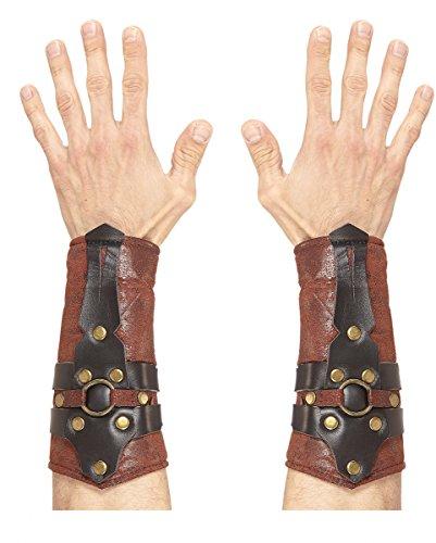 Gladiatoren Armschoner für Fasching & Halloween (Leder Detail, Schnalle)