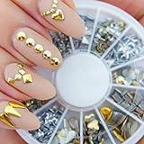 Professionell Hohe Qualität Maniküre 3D Nail Art Accessoires Dekorationen Rad Mit Gold Und Silber Metall Nieten 12 Verschiedene Formen Von VAGA®