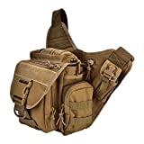 Huairdum Wild Messenger Bag, Vintage Impermeable Durable Hombres Pecho Hombro Bagpack Sling Bag para Maletín Laptop Bag Travel Camping Trekking Cycling Outdoor Equipment Khaki(#1)
