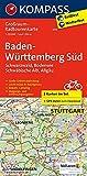 Baden-Württemberg Süd, Schwarzwald, Bodensee, Schwäbische Alb, Allgäu: Großraum-Radtourenkarte 1:125000, GPX-Daten zum Download (KOMPASS-Großraum-Radtourenkarte, Band 3711)