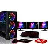 Fierce Cypher RGB Gaming PC Bundeln: 4.5GHz 6-Core Intel Core i7 8700K, 1TB SSHD, 16GB 3000MHz, GTX 1660 6GB, Tastatur (QWERTY), Maus, 3X 24-Zoll-Monitore, Headset 498448