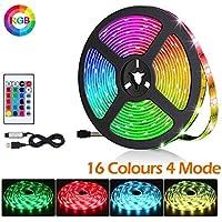 BACKTURE Rubans à LED, 2M 60 LED 5050 RGB Lumière Décorative Multicolore Bande avec Télécommande, pour Décorative TV Rétroéclairage Eclairage Intérieur Extérieur [Classe énergétique A+++]