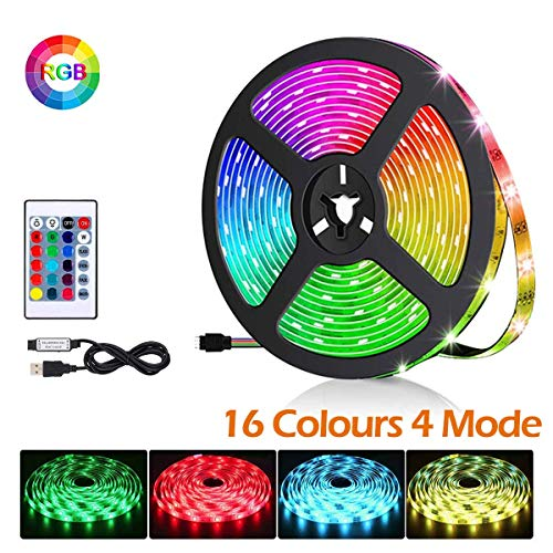 Tira LED de TV, 2M 60 LED 5050 RGB Multicolor Retroiluminación LED Con Remoto,16 RGB Colores y 4 Modos Tira de Luz USB para 32-60 Pulgadas TV PC Monitor, para Bar Club DJ Disco Fiesta KTV