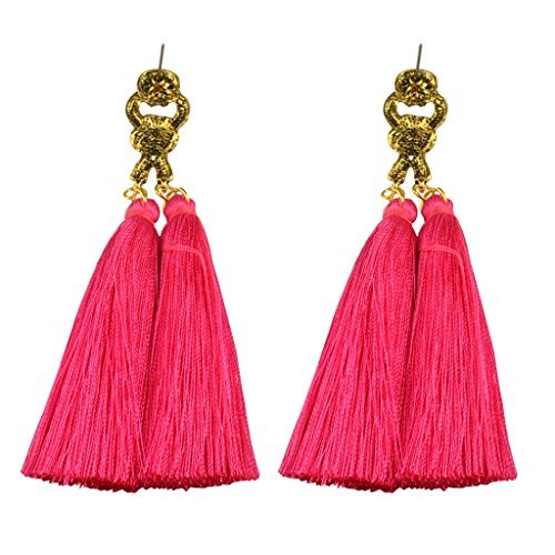 Lange Quaste Baumeln Ohrringe–Ohrstecker Legierung antik Vintage Bohemia Fashion Temperament, Paar Fransen Dangling Gewinde Ohr Decor für Mädchen Frauen - rose