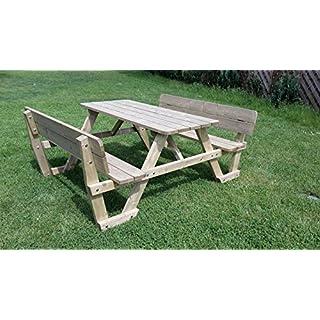 Picknicktisch Bierbank 150 cm Picknickbank Bank Tisch mit Rückenlehne
