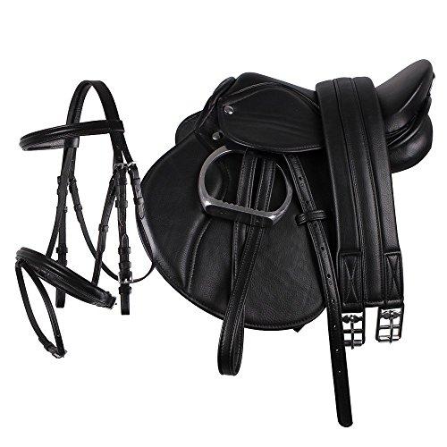 netproshop Junior Sattel Set komplett für Shettys BZW Ponys, englisches Sattelset, Kunstleder, Farbe:Schwarz -