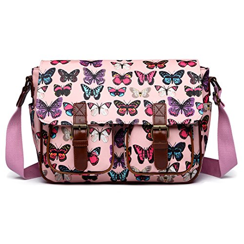 Muss Lulu Schultasche Wachstuch Eule Schädel Blumenmuster Punkte über Kreuz Schultertasche Handtasche - Synthetik, Mittelgroß, Schmetterling Rosa