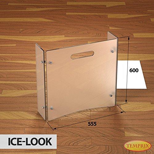 Stufa a Legna in vetro Parascintille Parascintille scintille protezione Griglia di sicurezza temprix | 600X 954X 6mm (L x A x P), Bianco