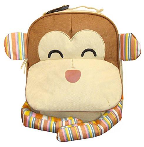 BOMIO | Unisex Kinder-Rucksack mit witzig-tierischem Design | Leicht zu reinigendes Polyestermaterial | verstellbare Gurte | Fassungsvermögen ca. 2,5 Liter | Affe (Rucksack Mit Rädern Kid)