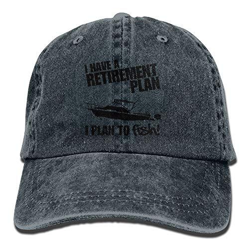 Sdltkhy Retirement Plan About FishingAdjustable Unisex Baseball Deckel Snapback Hat Cotton Denim Deckel ()