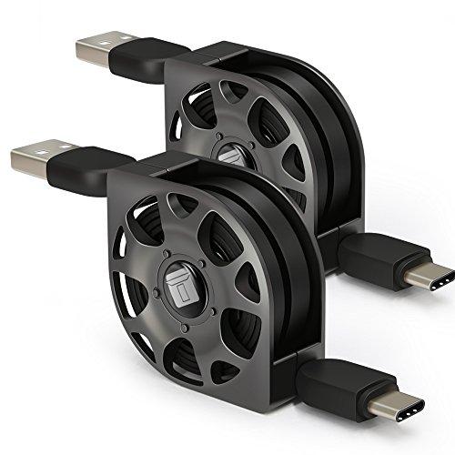 USB C Kabel einziehbar, Typ C auf USB Kabel, Higoo 2 Pack [1M / 3,3ft] Typ C Kabel Verlängerung Reversible Ladekabel mit Hohlschnur Winder Schnelles Ladegerät Sync Kabel für Samsung Huawei Honor LG