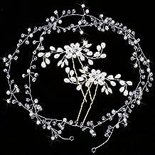 Gudotra 3 packs 2pcs Forcine Nuziale per Capelli con 1 pcs Fascia Nuziale per Capelli Accessori Decorazione Capelli per Uso Quotidiano Matrimonio Sposa
