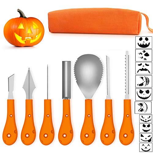 Ptsaying Halloween Kürbis Schnitzset, Halloween Kürbis Carving Kit, professionelle Werkzeuge und Hochleistungs-Edelstahl inklusive Tragetasche und 10er Kürbisschnitzschablone -