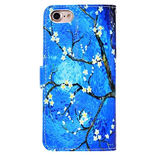 WE LOVE CASE Coque iPhone 7, Étui a Rabat de Protection Housse Coque iPhone 7 Cuir, Coque avec Rabat Anti Choc Motif Fleur Girly Fonction Support Stand Fente Carte et Magnétique Fermeture Stitch Flip  bleu